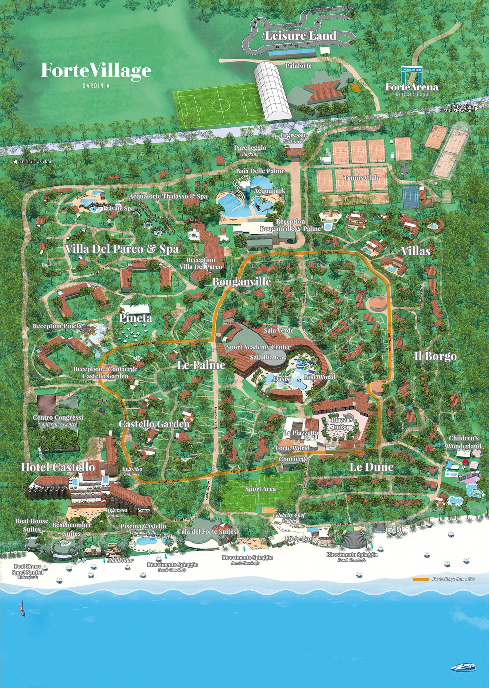 Mappa Km Sardegna.Interactive Map Forte Village